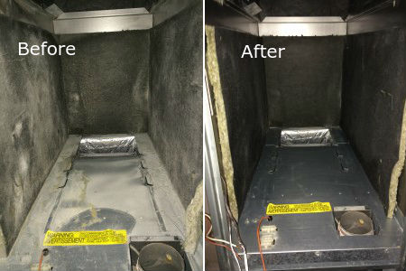 Before and after image of an air duct
