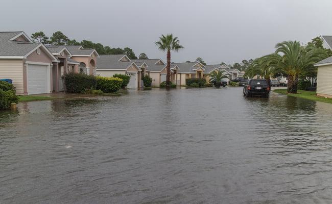 floodeded neighborhood during flood warning