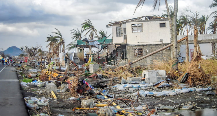 hurricane damaged area near coast