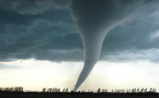 tornado causing damage in city