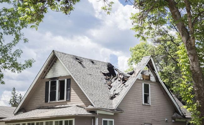 tornado damaged home