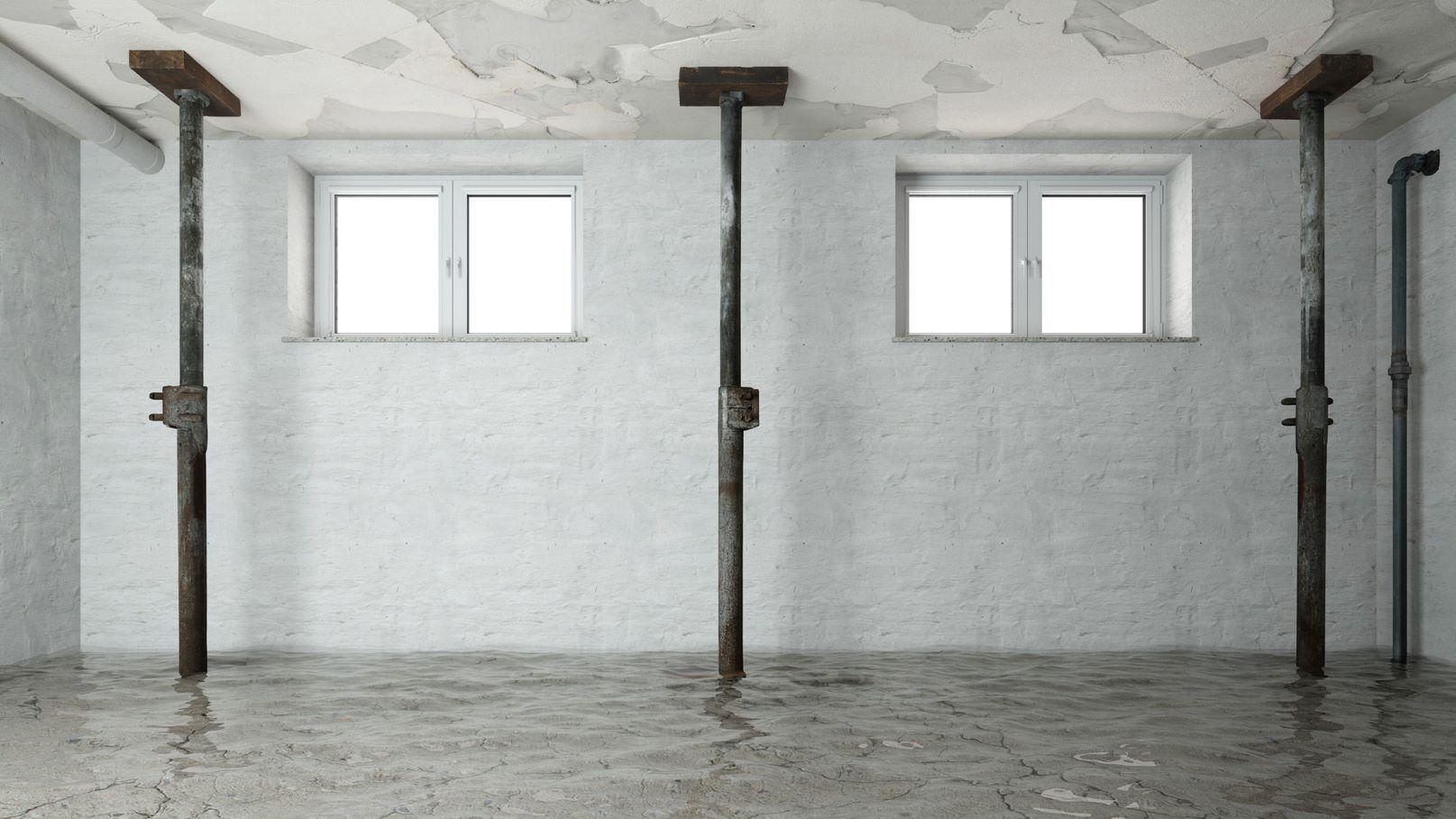 A damaged basement