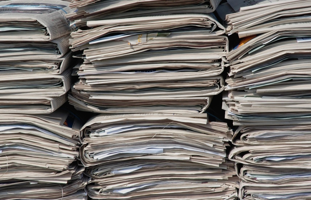 News papers stacked