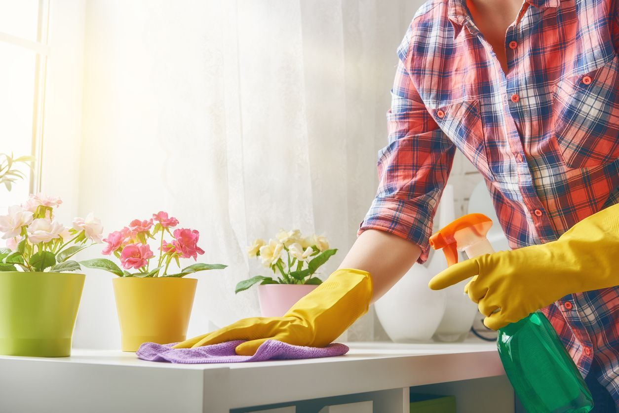 Gloved hands cleaning a counter with cleaning supplies and flower pots on the counter