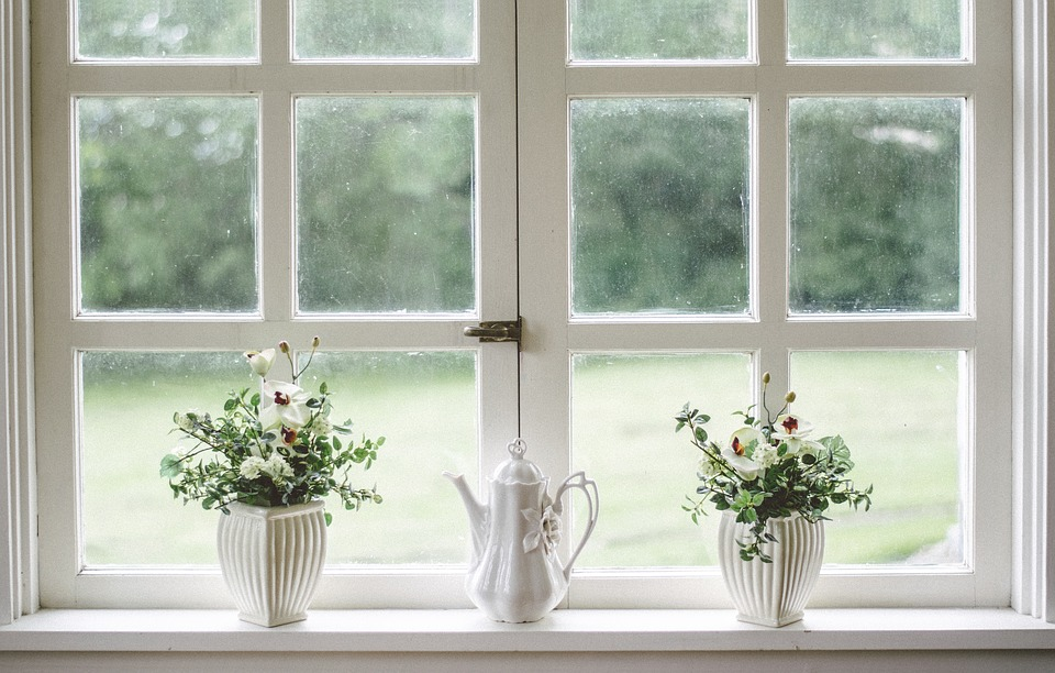 window sill with plants and a pitcher