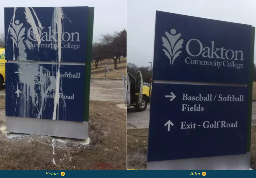 before and after image of a vandalized sign