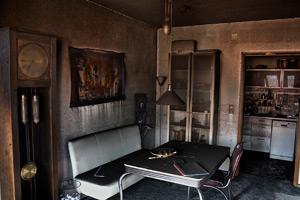 badly charred room