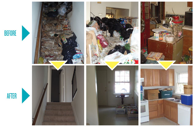 Before and after images of a cluttered house that's been cleaned