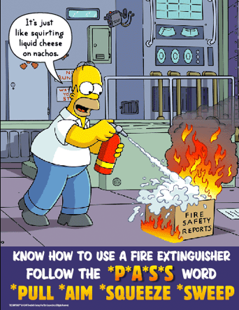 Homer Simpson putting out a fire