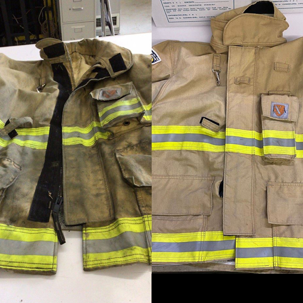 Before and after of a soiled firefighter's jacket