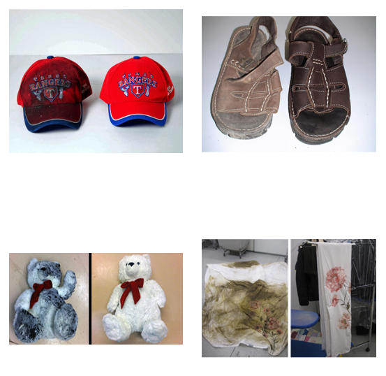 household contents have been restored after fire damage: hat, shoe, teddy bear, curtain