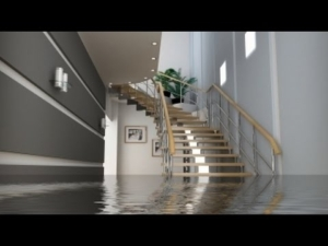 Water at the bottom of the stairs