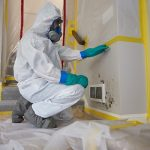 man removing mold from wall