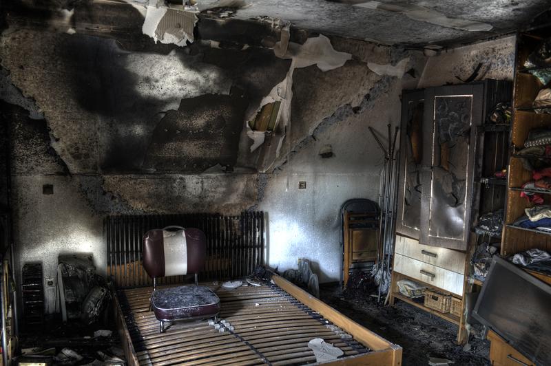 Burned down room