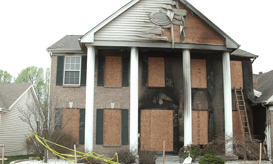 Fire damage home