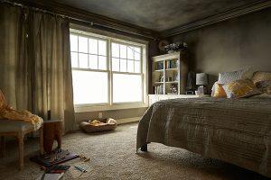Fire damaged bedroom