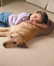boy and dog lying on carpet
