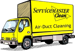 ServiceMaster yellow truck for air duct cleaning