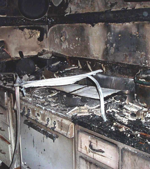 Burned down kitchen