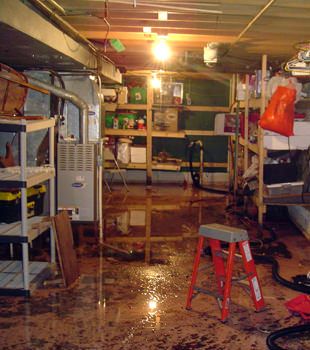 Room with water on the floor
