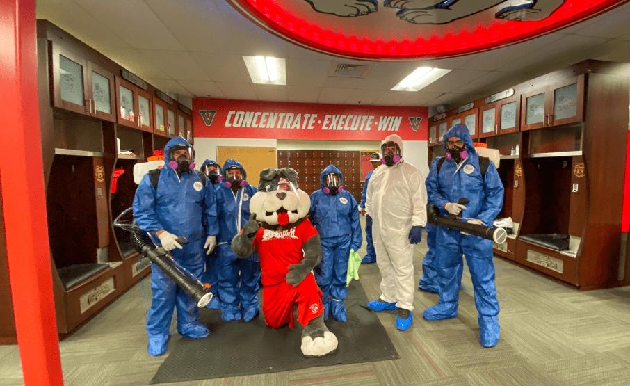 ServiceMaster team with the Fresno Universitry mascot
